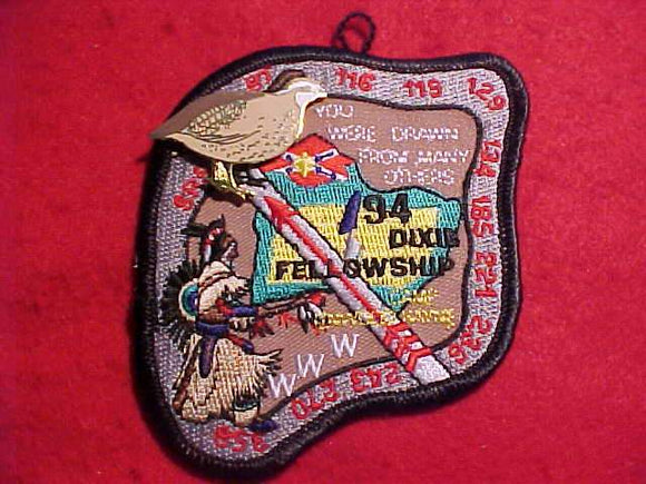1994 DIXIE FELLOWSHIP PATCH + PARTICIPATION PIN, CAMP LINWOOD HAYNE