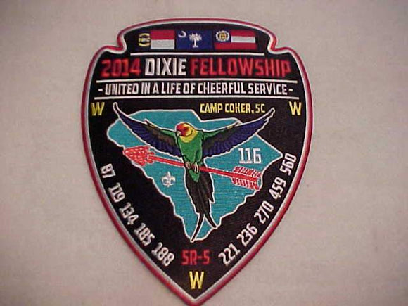 2014 DIXIE FELLOWSHIP JACKET PATCH, SECTION SR5, CAMP COKER, SC