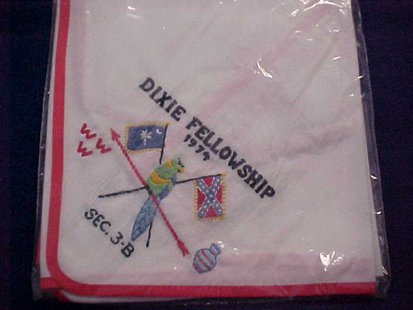 1974 SECTION SE3B DIXIE FELLOWSHIP NECKERCHIEF, HOST LODGE 116-SANTEE, MINT IN ORIGINAL BAG