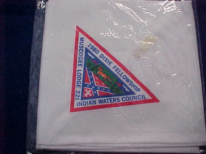 1980 SECTION SE3B DIXIE FELLOWSHIP NECKERCHIEF, HOST LODGE 221-MUSCOGEE, MINT IN ORIGINAL BAG