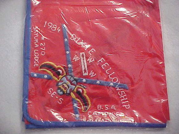 1982 SECTION SE5 DIXIE FELLOWSHIP NECKERCHIEF, HOST LODGE 270-SKYUKA, CAMP LEA, MINT IN ORIGINAL BAG