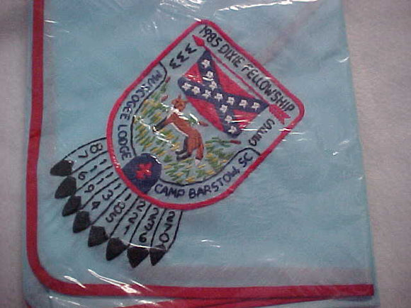 1985 SECTION SE5 DIXIE FELLOWSHIP NECKERCHIEF, HOST LODGE 221-MUSCOGEE, CAMP BARSTOW, MINT IN ORIGINAL BAG