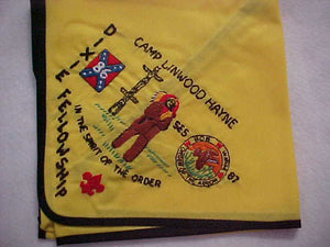 1986 SECTION SE5 DIXIE FELLOWSHIP NECKERCHIEF, HOST LODGE 87-BOB WHITE, CAMP LINWOOD HAYNE, MINT