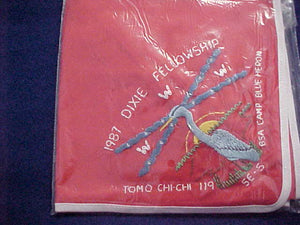 1987 SECTION SE5 DIXIE FELLOWSHIP NECKERCHIEF, HOST LODGE 119-TOMO CHI-CHI, CAMP BLUE HERON, MINT IN ORIGINAL BAG