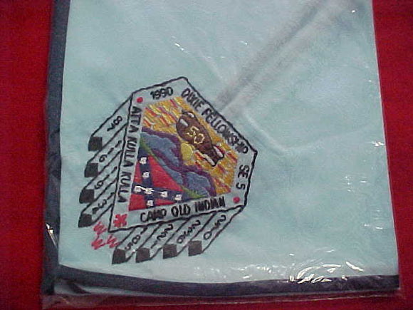 1990 SECTION SE5 DIXIE FELLOWSHIP NECKERCHIEF, HOST LODGE 185-ATTA KULLA KULLA, CAMP OLD INDIAN, MINT IN ORIGINAL BAG