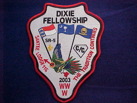 2003 SECTION SR5 DIXIE FELLOWSHIP JACKET PATCH