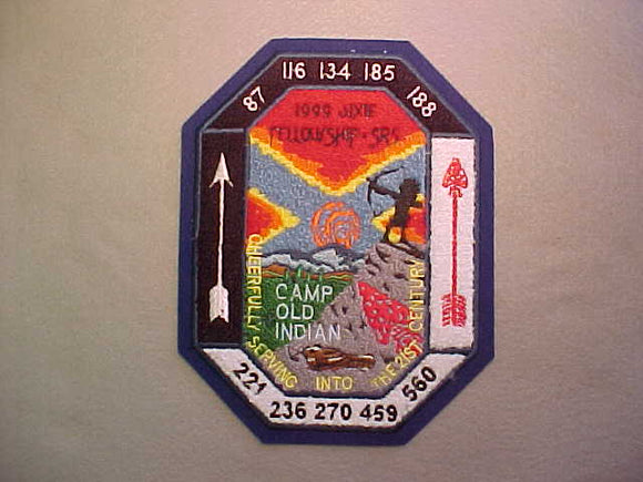 1999 SECTION SR-5 DIXIE FELLOWSHIP PATCH, CAMP OLD INDIAN, CHENILLE