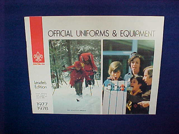 1977-78 OFFICIAL UNIFORMS AND EQUIPMENT,LEADER'S EDITION,11 X 8.5,16 PAGES