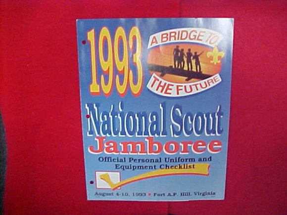 1993 NATIONAL SCOUT JAMBOREE OFFICIAL PERSONAL UNIFORM AND EQUIPMENT CHECKLIST,8.5 X 11,3 PAGES