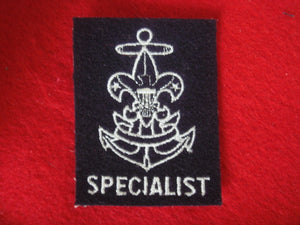 "Specialist Embroidered on Navy Felt 1966-Present (Rare) No ""Be Prepared"" on First Class Scroll"