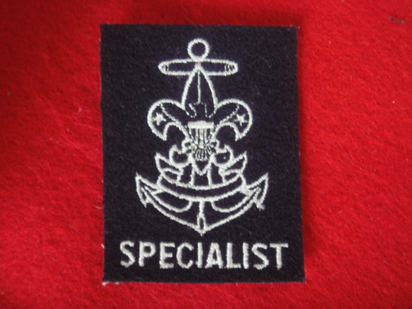 Specialist Embroidered on Navy Felt 1966-Present (Rare) No