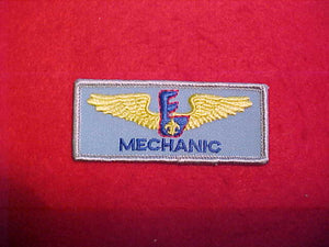 AVIATION EXPLORING RECTANGULAR BADGE ON LIGHT BLUE TWILL-MECHANIC.1986-91