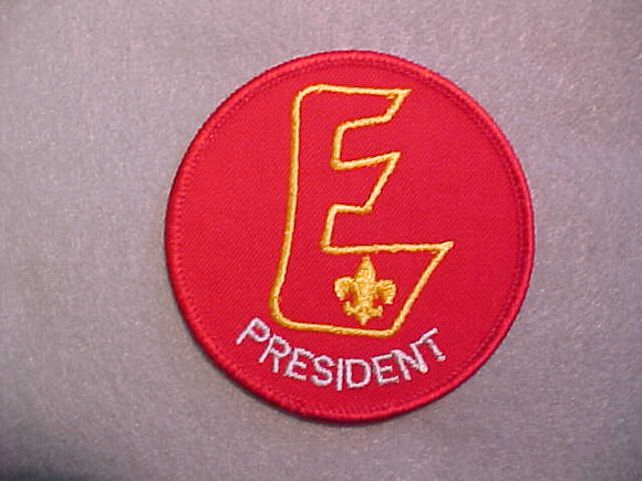 EXPLORER PRESIDENT BADGE,76MM,GRAY LETTERS,1987-89