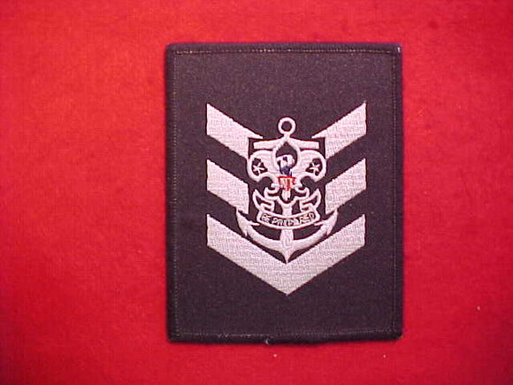 SEA EXPLORER BOATSWAIN'S MATE BADGE,EMBROIDERED ON NAVY TWILL WITH ROLLED EDGE
