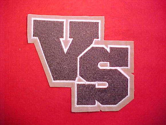 VARSITY SCOUT CHENILLE WITH WHITE EMBROIDERED BORDER OF VS,1980-89 ISSUE