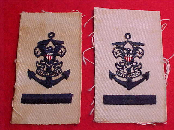 SEA EXPLORING APPRENTICE RANK PATCHES (2), TWO VARIETIES, CLOTH BACK, SOILED