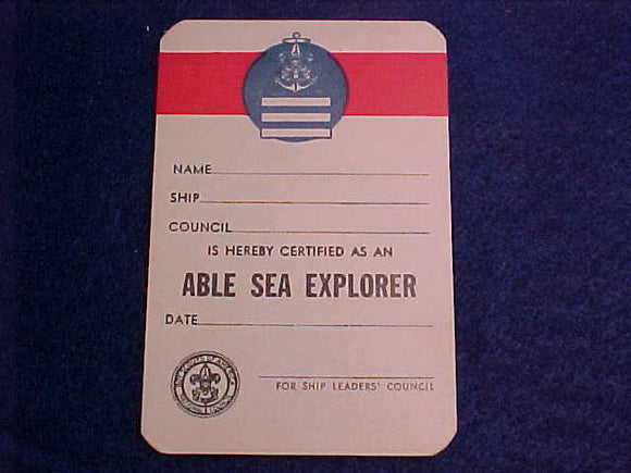 SEA EXPLORER ABLE RANK POCKET CARD, MINT, 1956