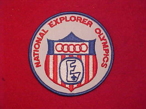 "NATIONAL EXPLORER PATCH, OLYMPICS, 4"" ROUND, 1970'S"