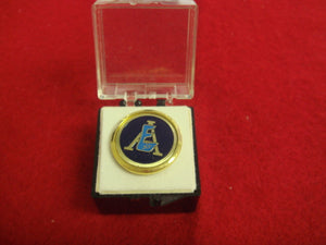 Explorer Training Award Pin. Explorer E Design with Circle V Logo 1978-82