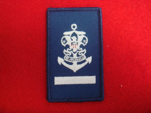 Sea Scout Apprentice on Blue Twill with Rolled Border Scout Stuff Plastic Back