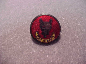 Netherlands Cub Scout pin, Doe Je Best, red/yelllow/silver, 20mm diam., old
