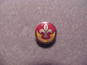 Netherlands pin, Weest Parrat, red/yellow/silver, 16mm diam., old