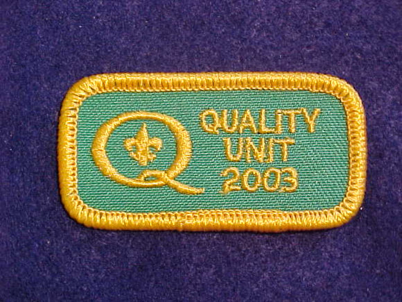 2003 QUALITY UNIT PATCH