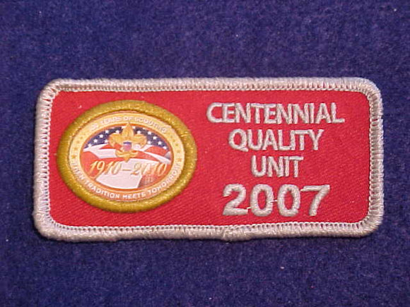 2007 CENTENNIAL QUALITY UNIT PATCH