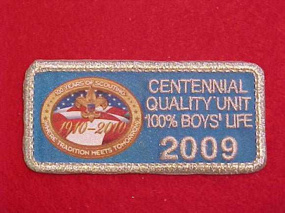 2009 CENTENNIAL QUALITY UNIT PATCH, 100% BOYS' LIFE