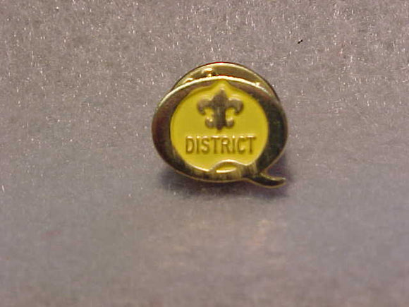 1992 QUALITY DISTRICT PIN, YELLOW/GOLD