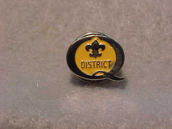 1995 QUALITY DISTRICT PIN, YELLOW/SILVER