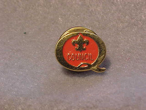 1989 QUALITY COUNCIL PIN, ORANGE/GOLD