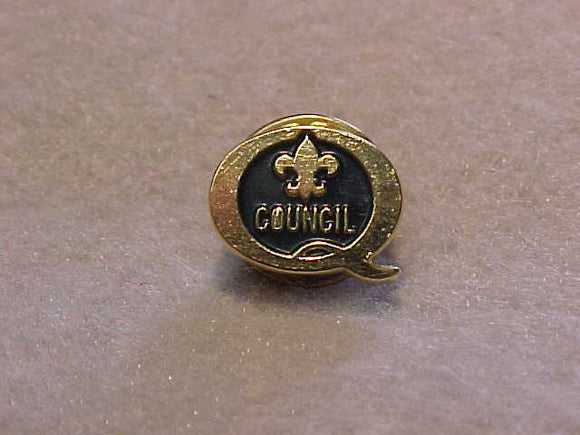 1986 QUALITY COUNCIL PIN, BLACK/GOLD