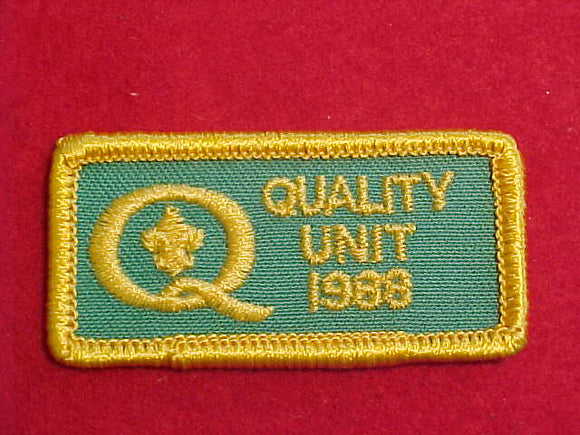 1988 QUALITY UNIT PATCH, SQUARE CORNERS, RARE