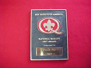 1987 QUALITY UNIT AWARD PLAQUE, ENGRAVED
