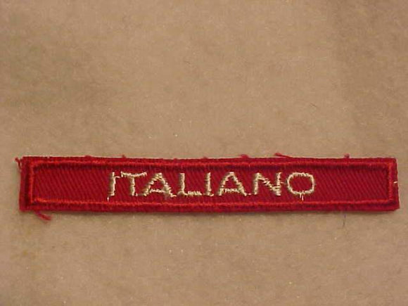 ITALIAN ITALIANO INTERPRETER STRIP, RED/WHITE, 1959-88