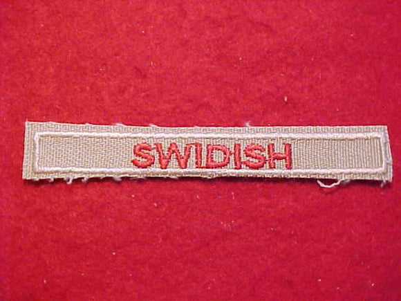 SWIDISH INTERPRETER STRIP, RED/TAN, ERROR ISSUE (MISSPELLED)