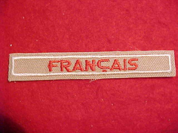 FRANCAIS FRENCH INTERPRETER STRIP, RED/TAN, CLEAR PLASTIC BACK, 1989+