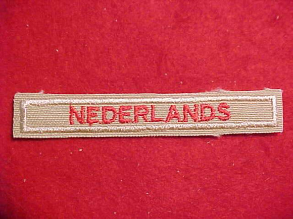 DUTCH NEDERLANDS INTERPRETER STRIP, RED/TAN, 1989+