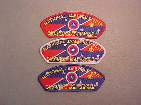 2017 NJ MASON-DIXON COUNCIL, SET OF 3 JSP'S, RED/WHITE/BLUE BORDERS