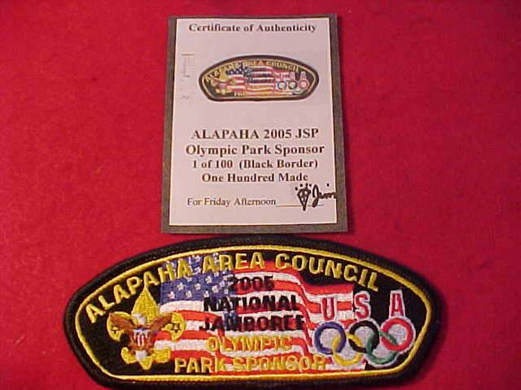 2005 NJ JSP, ALAPAHA AREA C., OLYMPIC PARK SPONSOR ,W/ CERTIFICATE OF AUTHENTICITY, BLACK BDR., 1 OF 100 MADE