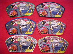"2001 NJ JSP SET, NARRAGANSETT C., RI, CONN, MASS, ""QUAHOGS RULE!!"", SET OF 6"