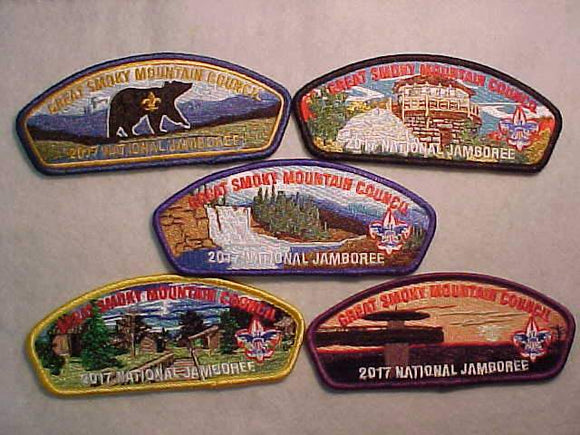 2017 GREAT SMOKY MOUNTAIN C., SET OF 5 DIFFERENT PATCHES