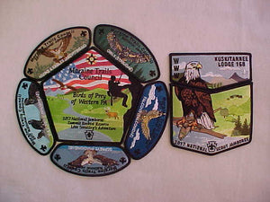 2017 NJ MORAINE TRAILS COUNCIL 8 PATCH SET, BIRDS OF PREY, OA LODGE 168 KUSKITANNEE 2-PIECE SET, JACKET PATCH, AND 5 JSP'S