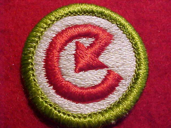 ENERGY, MERIT BADGE WITH CLEAR PLASTIC BACK, GREEN BORDER, NO IMPRINTS/LOGOS IN PLASTIC, 1976-2002