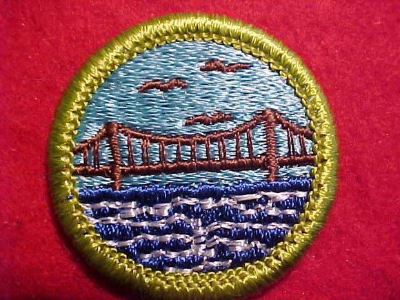 ENGINEERING, MERIT BADGE WITH CLEAR PLASTIC BACK, GREEN BORDER, NO IMPRINTS/LOGOS IN PLASTIC, 1972-2002