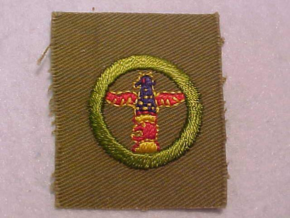WOOD CARVING MERIT BADGE, SQUARE, 1927-1933, 48 X 57MM, MINT