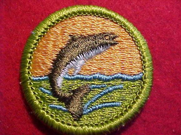 FISHING, MERIT BADGE WITH CLEAR PLASTIC BACK, GREEN BORDER, NO IMPRINTS/LOGOS IN PLASTIC, 1972-2002