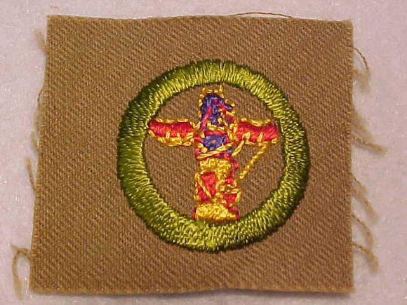 WOOD CARVING MERIT BADGE, SQUARE, 1927-1933, 54 X 49MM, MINT