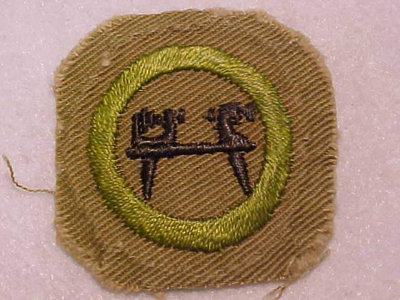 WOOD TURNING MERIT BADGE, SQUARE, 1930-1933, CUT DOWN 44MM